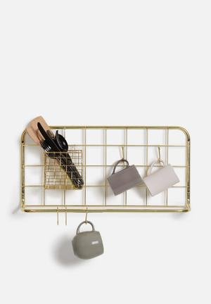 Present Time Open Grid Kitchen Rack Set Gold Plated Metal