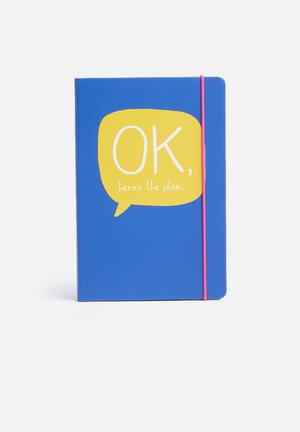 Wild & Wolf OK A5 Notebook Gifting & Stationery Blue, Yellow, Green & Pink
