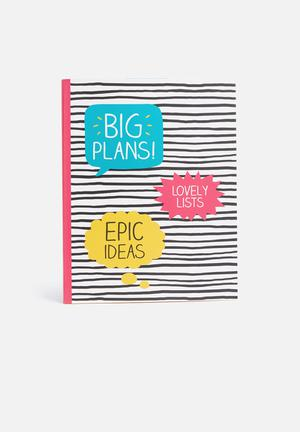 Wild & Wolf Big Plans Large Jotter Gifting & Stationery White, Black, Pink, Yellow & Blue