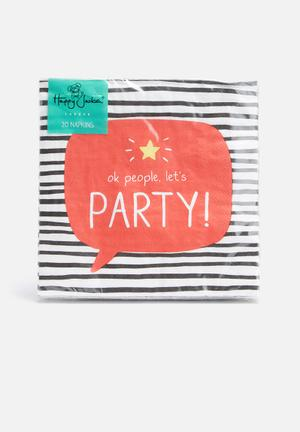 Wild & Wolf Let's Party Napkins Partyware Black, White, Red & Yellow