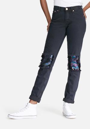 Glamorous Sequin Jeans Black