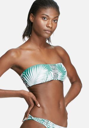 Bacon Bikinis Reversible Strappy Bandeau Top Swimwear Green & White