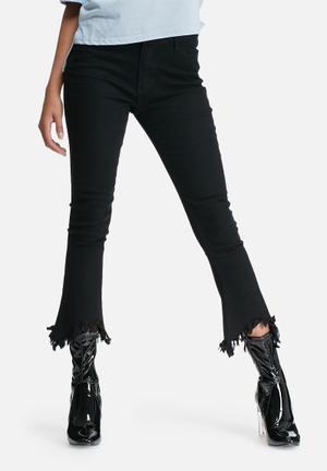 High waist kick flare jeans with frayed hems