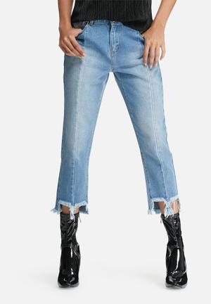 Daisy Street Reconstructed Jeans With Frayed Hems Blue