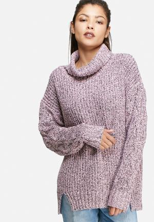 Glamorous Polar Neck Jersey Knitwear Pink, Black & Cream