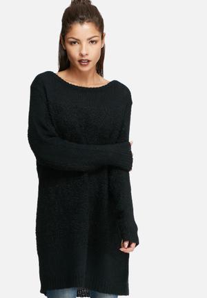 Glamorous Longline Knit Knitwear Black