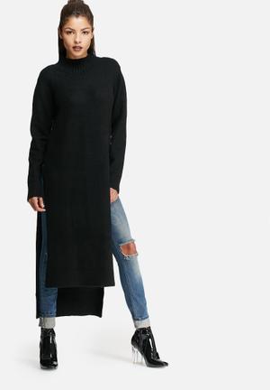 Glamorous High Neck Long Sleeve Longline Knit Top Casual Black