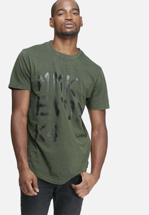 Only & Sons Lucas Long Line Tee T-Shirts & Vests Green & Black