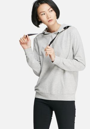 Jacqueline De Yong Carly Sweat Hoodies & Jackets Grey Melange