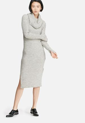 VILA Rib Knit Dress Casual Grey