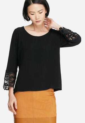 VILA Berta Lace Top Blouses Black