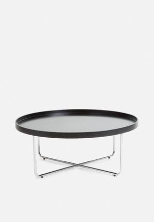 Sixth Floor Tracy Coffee Table Lacquered Table Top & Chrome Frame