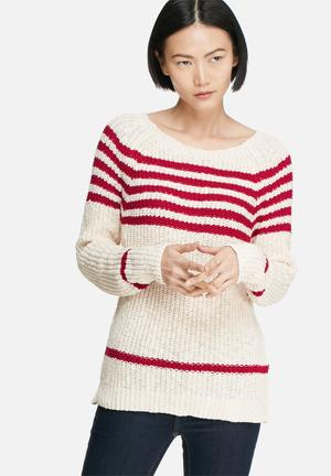 Vero Moda Tinky Stripe Knit Knitwear Cream & Red