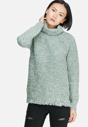 Vero Moda Ebi Fringe Long Roll Neck Knit Knitwear Green