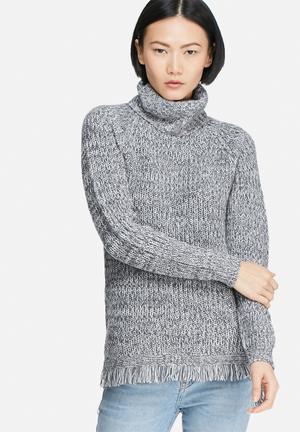 Vero Moda Ebi Fringe Long Roll Neck Knit Knitwear Blue