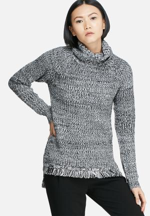 Vero Moda Ebi Fringe Long Roll Neck Knit Knitwear Black & White