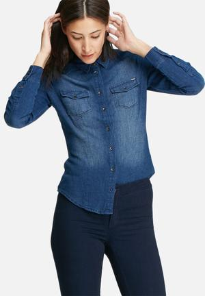 ONLY Rock It Fitted Denim Shirt Blue