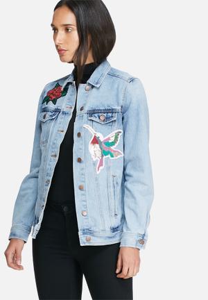 VILA Patchi Denim Jacket Blue