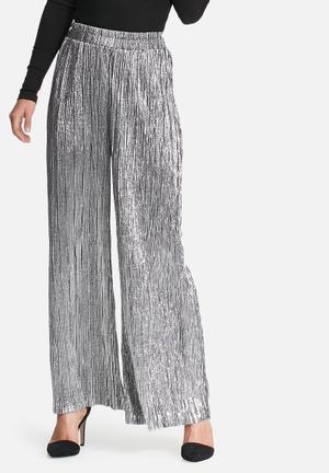 Noisy May Amazing Plissé Loose Pants Trousers Silver