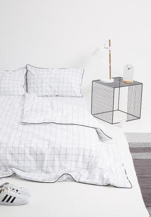 Sixth Floor Grid Duvet Set Bedding 100% Cotton, 200TC