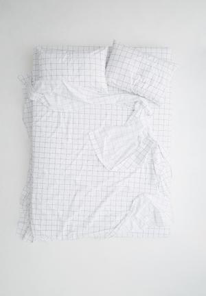 Sixth Floor Grey Grid Sheet Set Bedding 100% Cotton, 200TC