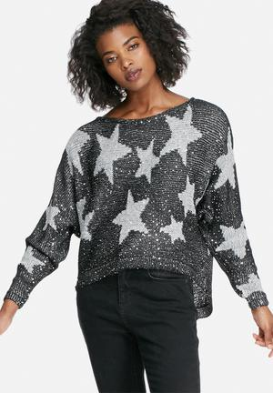 ONLY Annabelle Sweater Knitwear Black, Grey & Silver