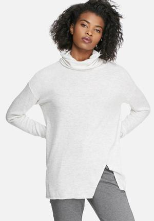 Vero Moda Indi Wool Roll Neck Sweater Knitwear White & Grey