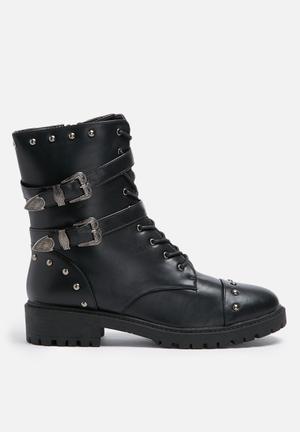 Daisy Street Buckle Studded Boot Black