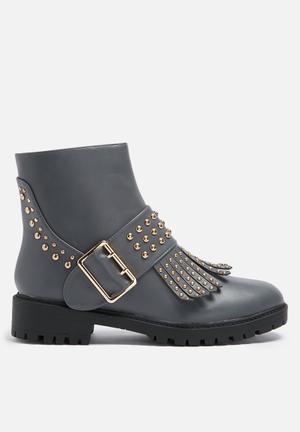 Daisy Street Melissa Studded Boot  Grey