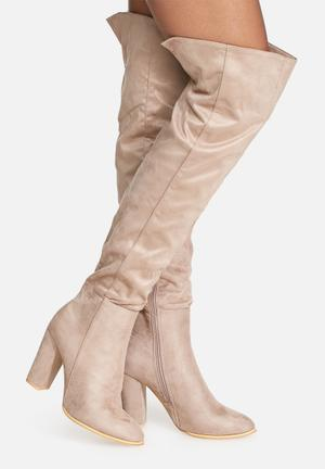 Daisy Street Julia Over The Knee Boot Taupe