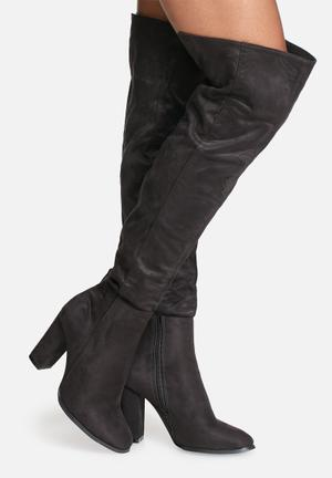 Daisy Street Julia Over The Knee Boot Black