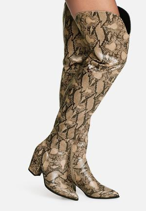 Daisy Street Viper Over The Knee Boot Natural Snake Print