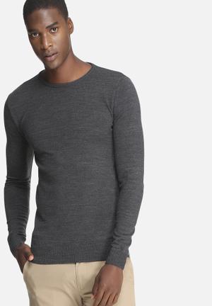 Basicthread Basic Crew Neck Pullover Knitwear Charcoal