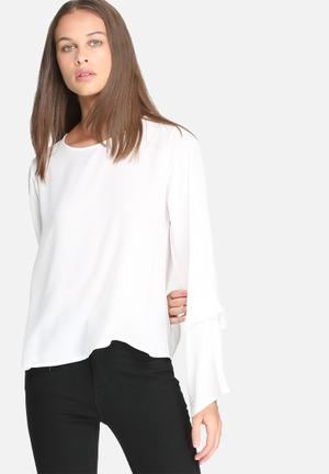Dailyfriday Fluted Sleeve Blouse White