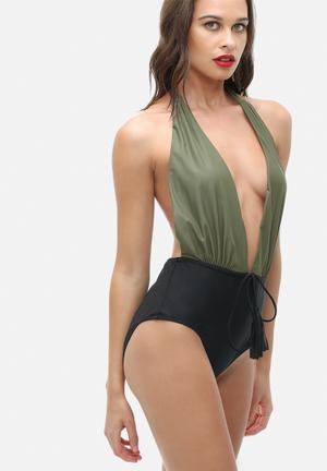Missguided Halterneck Plunge Swimsuit Swimwear Khaki Green & Black