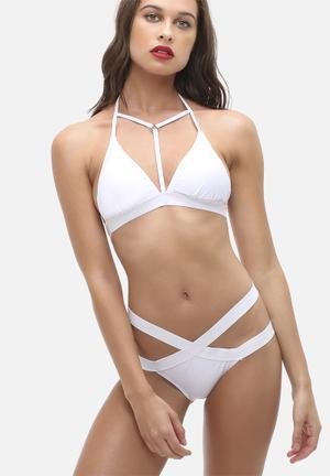 Missguided Harness Detail Bikini Set Swimwear White