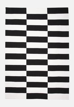 Sixth Floor Jagged Stripe Rug Handwoven Cotton Dhurrie