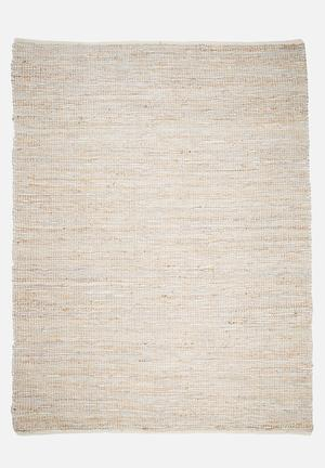 Sixth Floor Hemp & Leather Rug Handwoven Cotton Dhurrie, Hemp & Leather