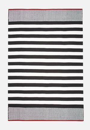 Sixth Floor Narrow Stripe Rug  Handwoven Cotton Dhurrie