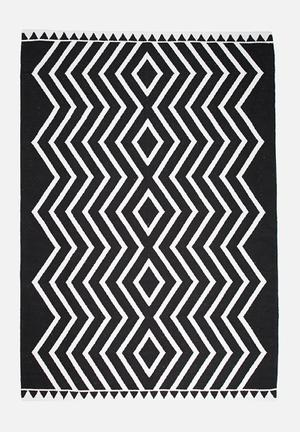 Sixth Floor Black Diamond Rug Handwoven Cotton Dhurrie