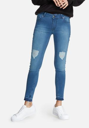 Dailyfriday Ameli Raw Hem Skinny Jeans Blue