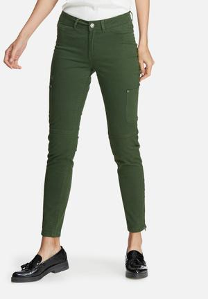 Vero Moda Seven Slim Cargo Ankle Pants Trousers Green