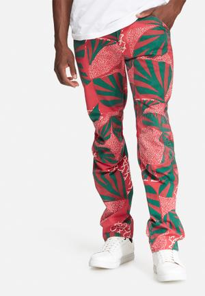 G-Star RAW Elwood 5622 Tapered Pants & Chinos Red, Green & White