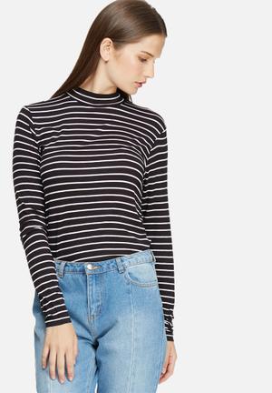 Jacqueline De Yong Spirit Stripe Roll Neck T-Shirts, Vests & Camis Black & White