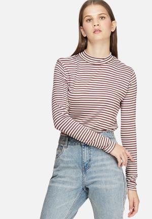 Jacqueline De Yong Spirit Stripe Roll Neck T-Shirts, Vests & Camis White & Dirty Pink