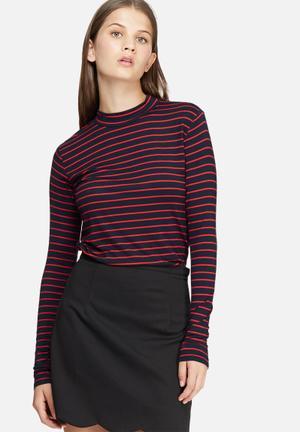Jacqueline De Yong Spirit Stripe Roll Neck T-Shirts, Vests & Camis Navy & Red