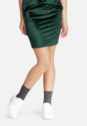 Jacqueline De Yong Sherry Velvet Pencil Skirt Green