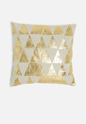 Sixth Floor Pyramid Cushion Cover 100% Cotton With Foil Print