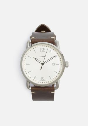 Fossil Commuter Watches Brown, Silver & White