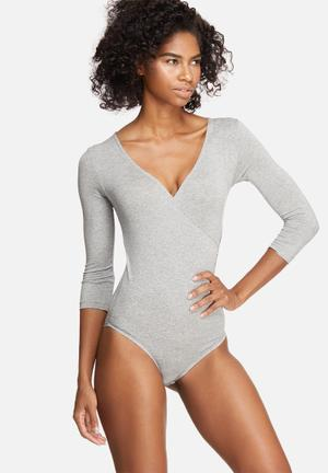 Dailyfriday Wrap V-neck Bodysuit T-Shirts, Vests & Camis Grey